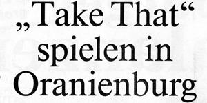 Take That Aprilscherz aus dem Oranienburger Generalanzeiger, 1. April 1996